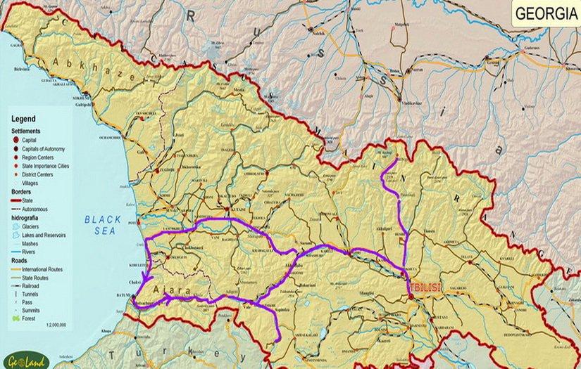 План нашего путешествия по Грузии