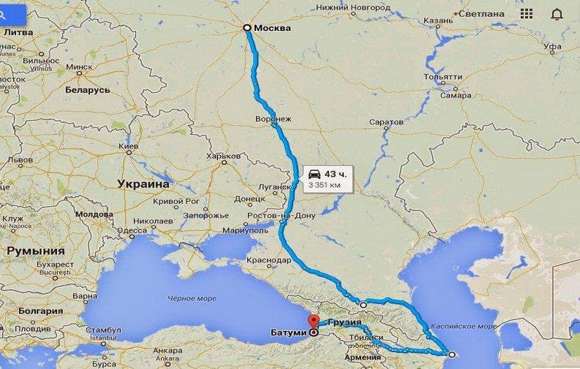 Наш путь от Москвы до Тбилиси на карте
