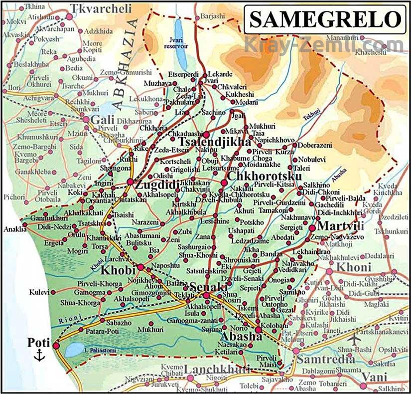 Самегрело на карте Грузии