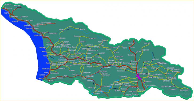 Автомобильная карта Грузии