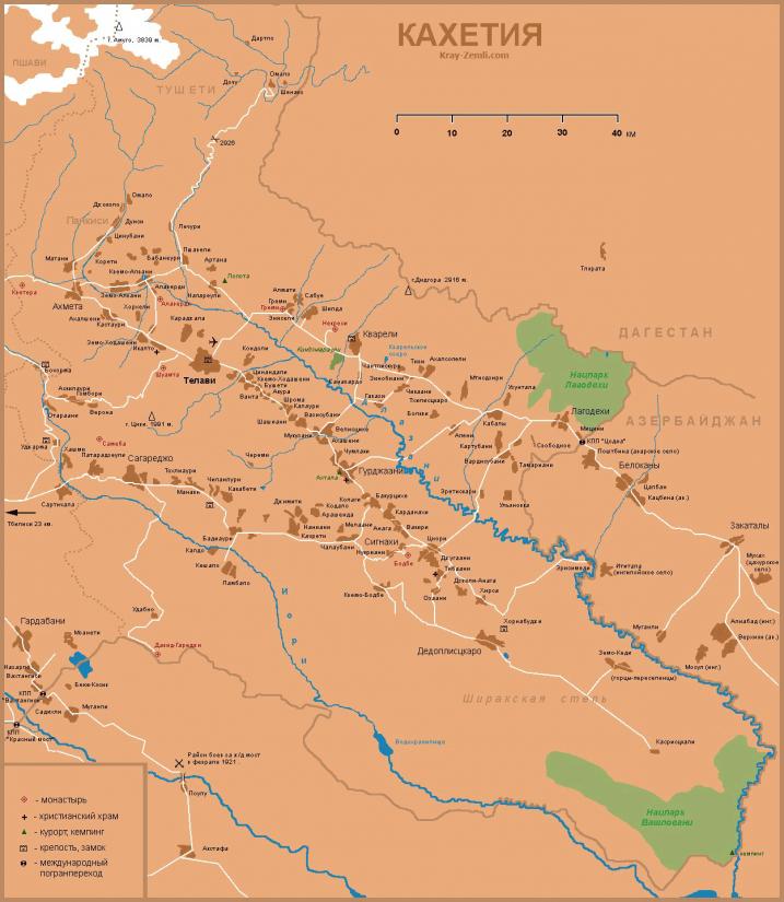 Карта достопримечательностей Кахетии