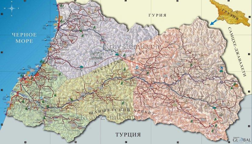 Туристическая карта Аджарии