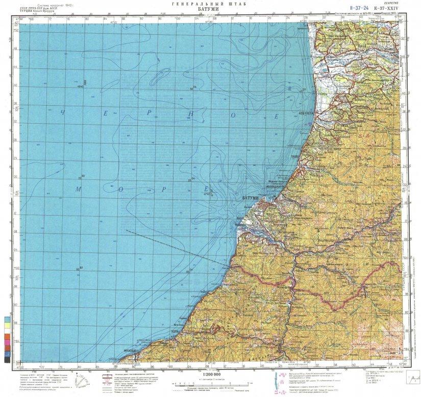 Топографическая карта побережья