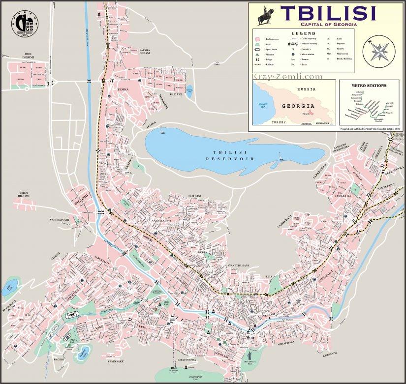 Подробная карта Тбилиси