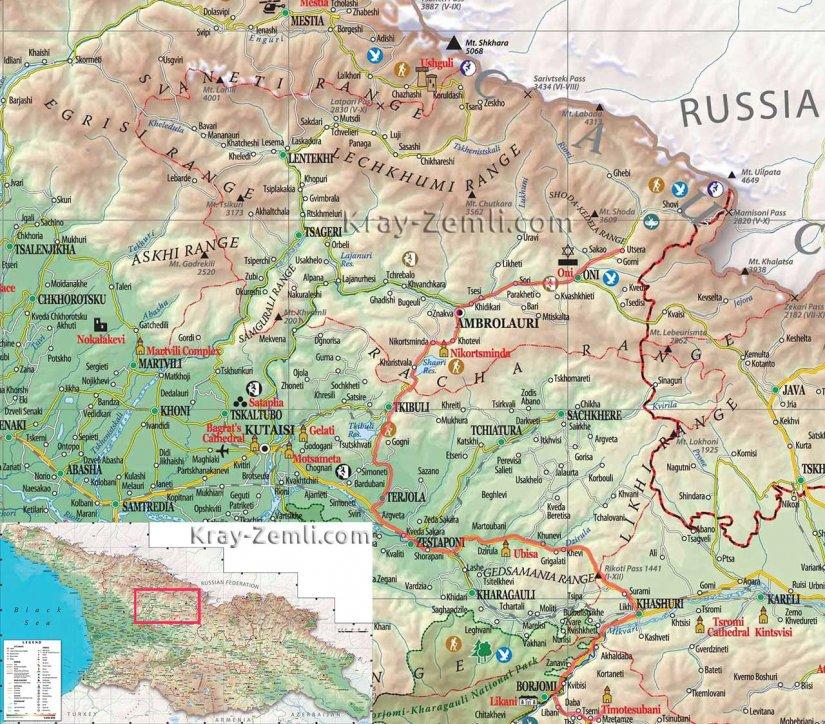 Подробная карта Рачи