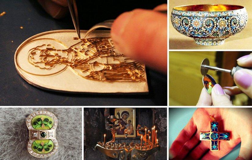 Серебрянные изделия ручной работы в технике перегородчатой эмали
