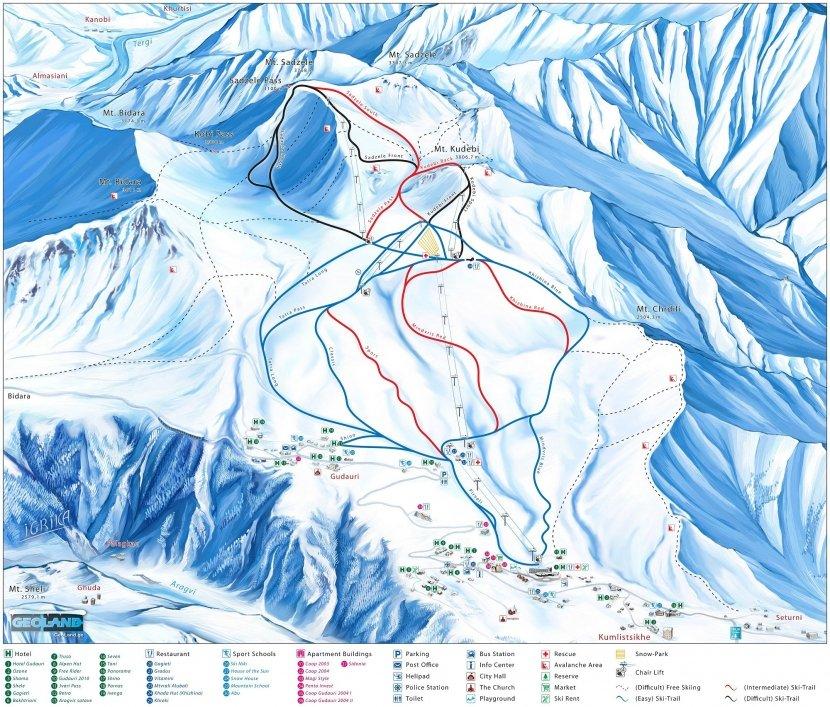 Схема и карта Гудаури