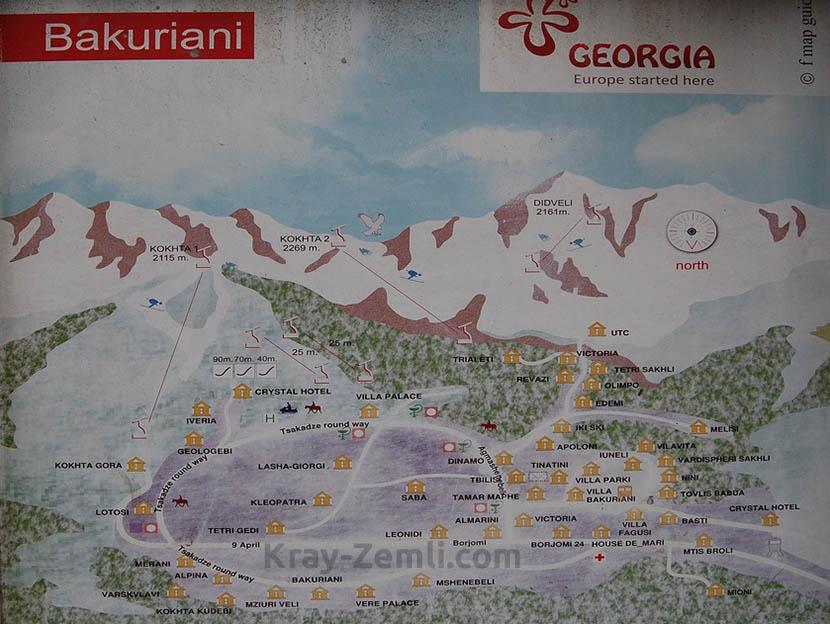Карта курорта Бакуриани