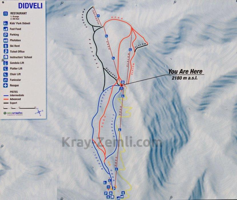 Схема спуска с вершины Дидвели